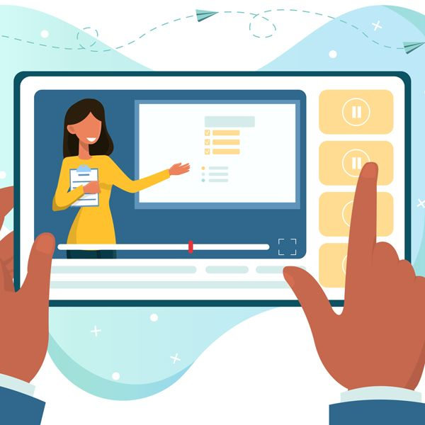 computer screen of woman presenting