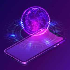 purple cell phone illustrator